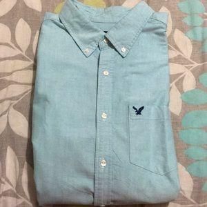 Men's AE XXL Green Button Up Shirt